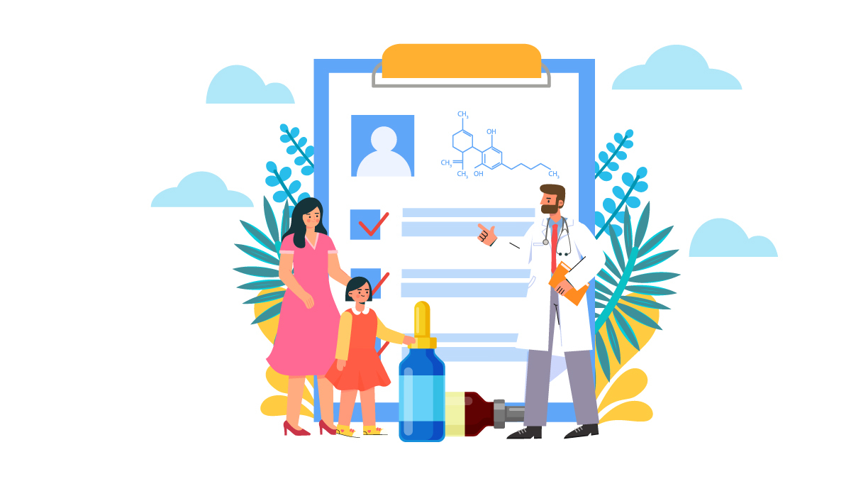 Illustration of a Doctor Explaining About CBD Oil to a Kid with Her Mother