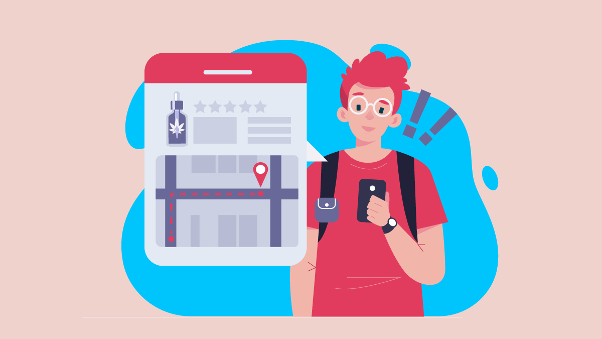 Illustration of a guy looking on a mobile map