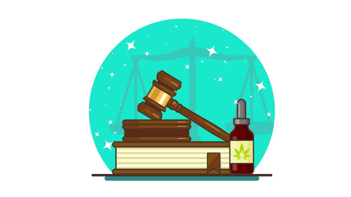 Gavel and Judge Book with CBD Oil Illustration with Justice Scale on the Background