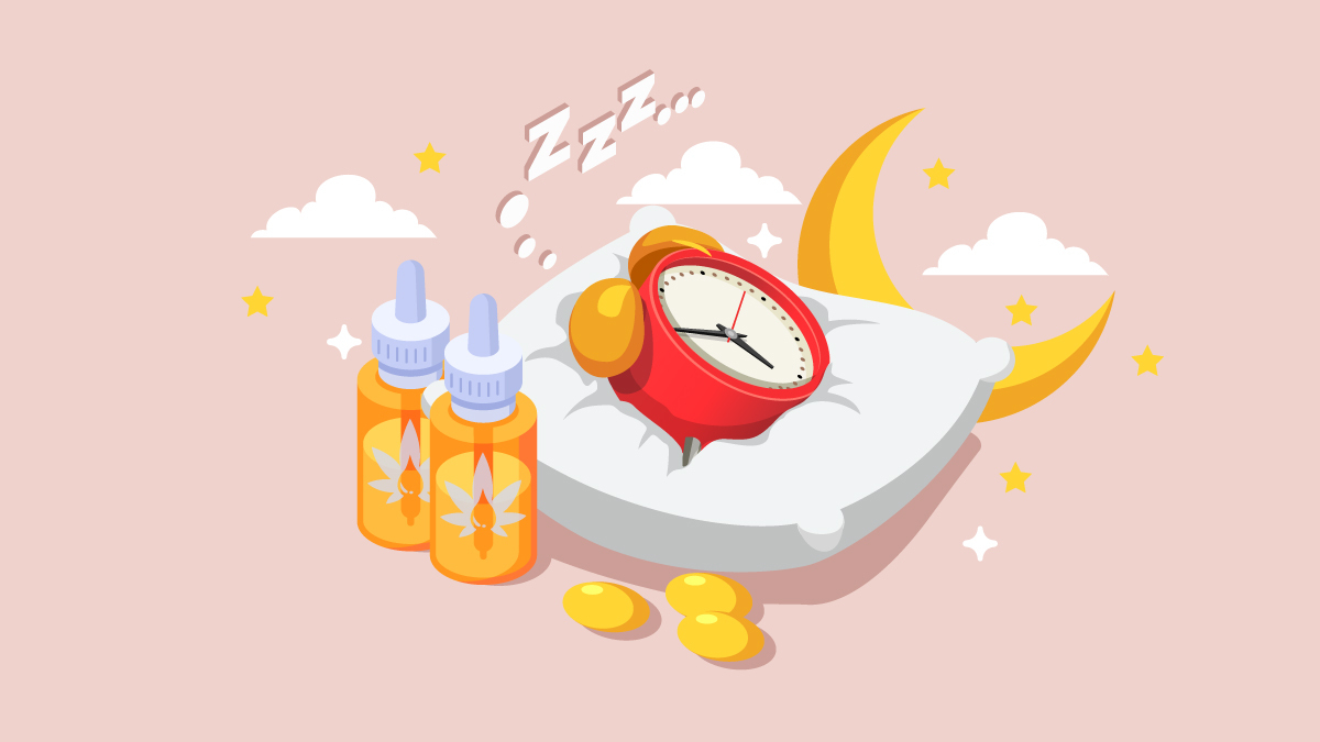 Illustration of CBD Oil with Alarm Clock on a Pillow