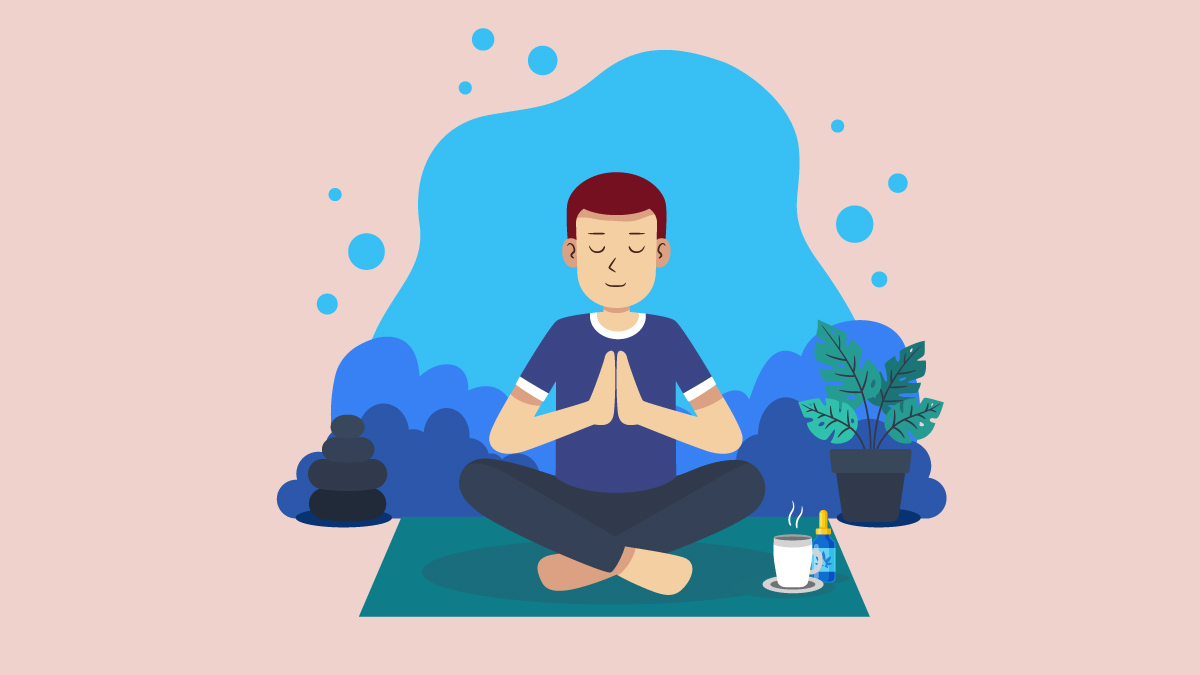 Illustration of a guy meditating with CBD Oil and Hot Water on His Corner