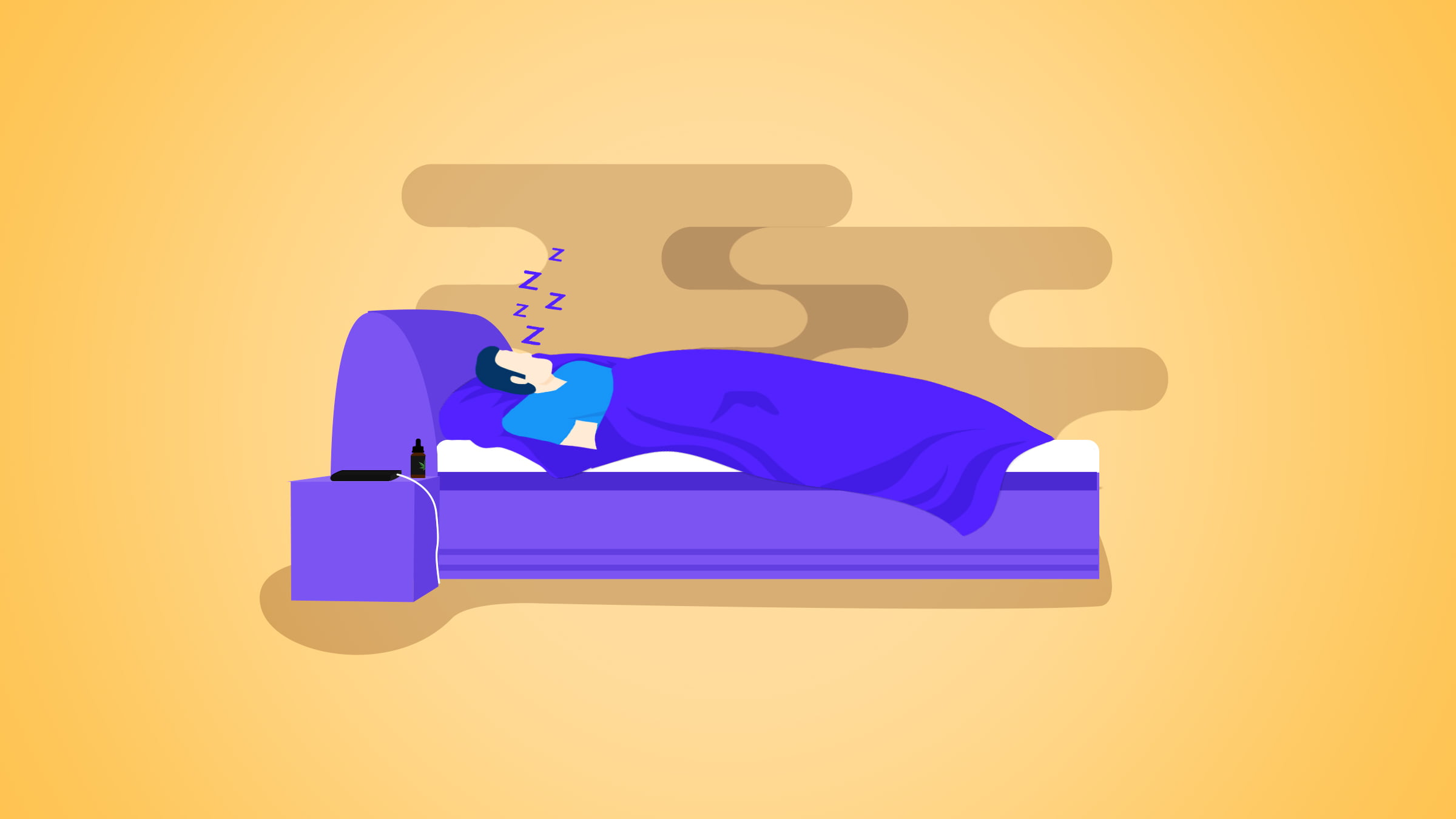 Illustration of a man sleeping on a purple bed with CBD oil bottle on the nightstand