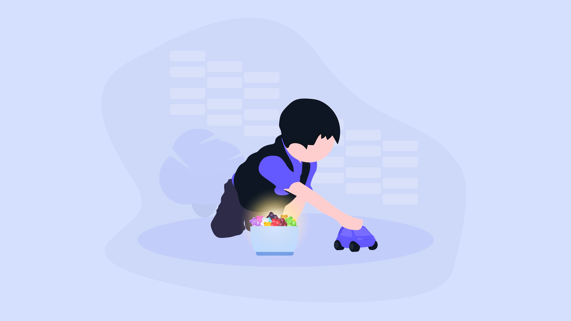 illustration of a young boy playing with toys having a box of CBD gummies
