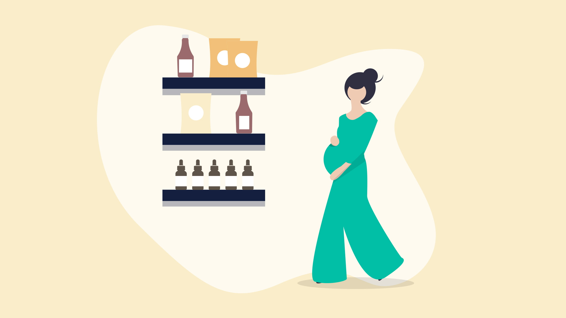 Illustration of a pregnant woman holding her belly walking towards a shelf of CBD products