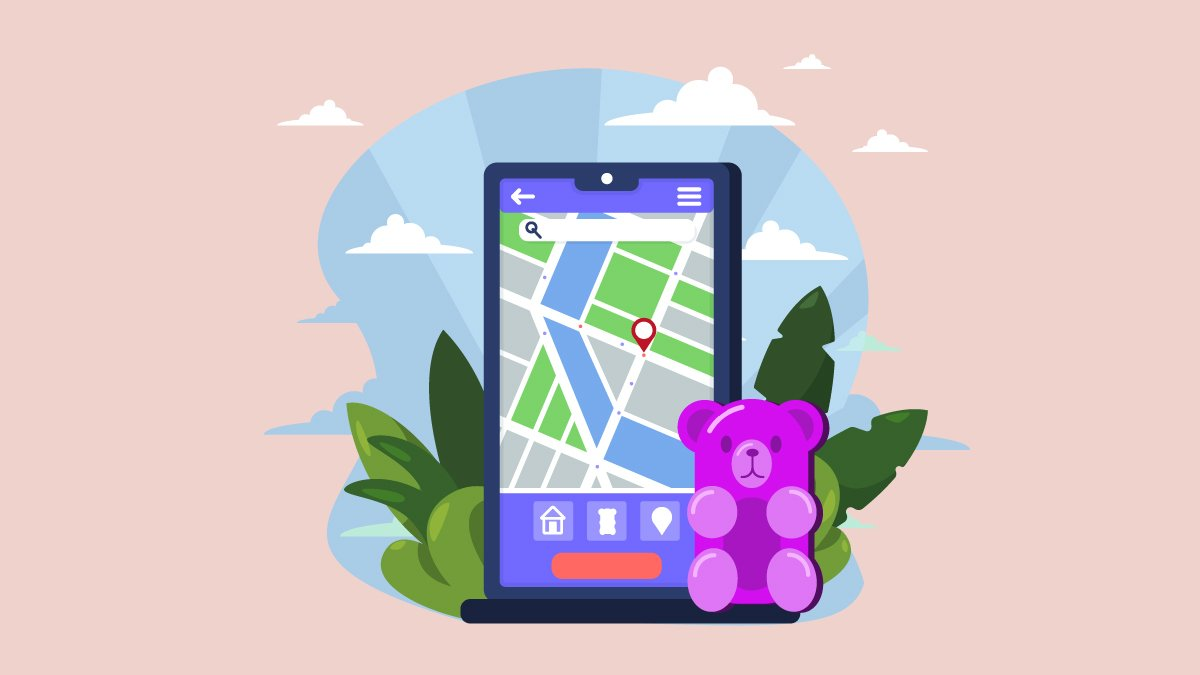 Illustration of a Map Where to Buy CBD Gummies Near Me on a Mobile