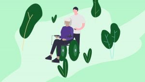 Illustration of a person caring for an elderly woman on a wheelchair suffering from Multiple Sclerosis