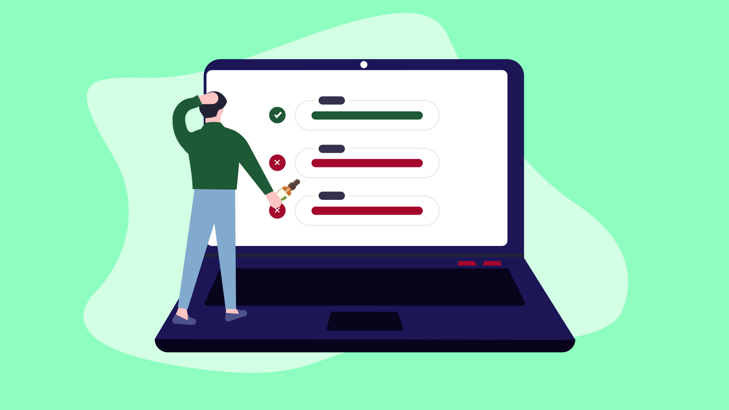Illustration of a man standing in front of his laptop choosing CBD oils