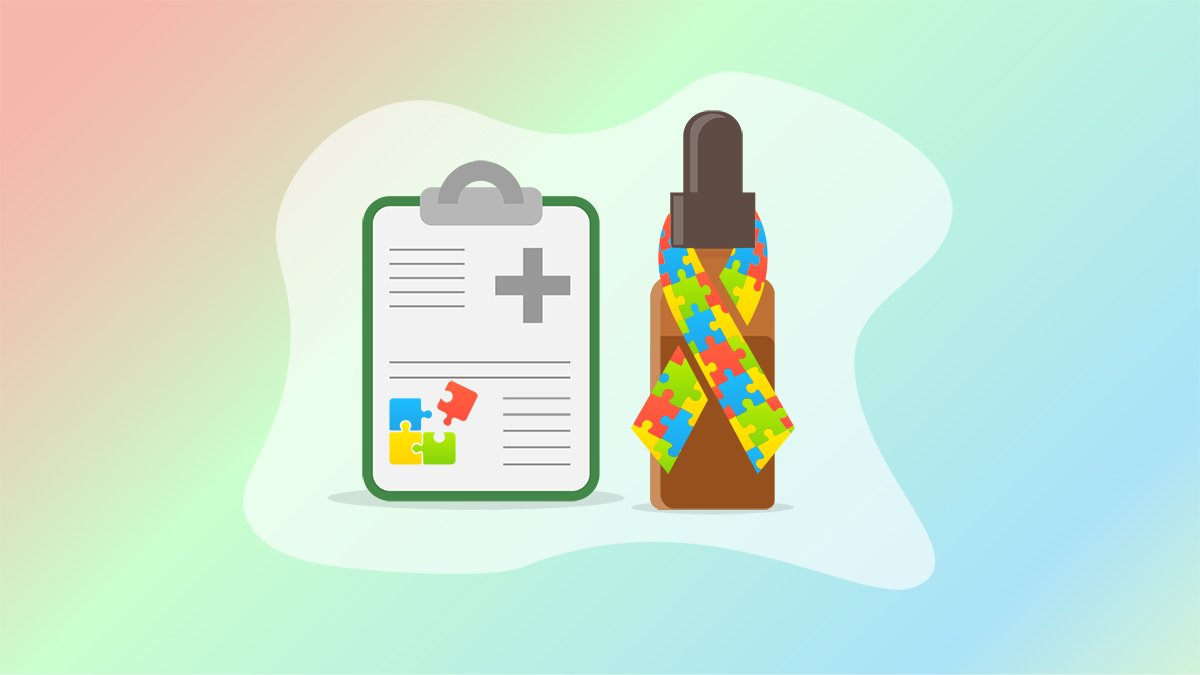 Illustration of a medical note board and CBD oil bottle with autism icon wrapped around