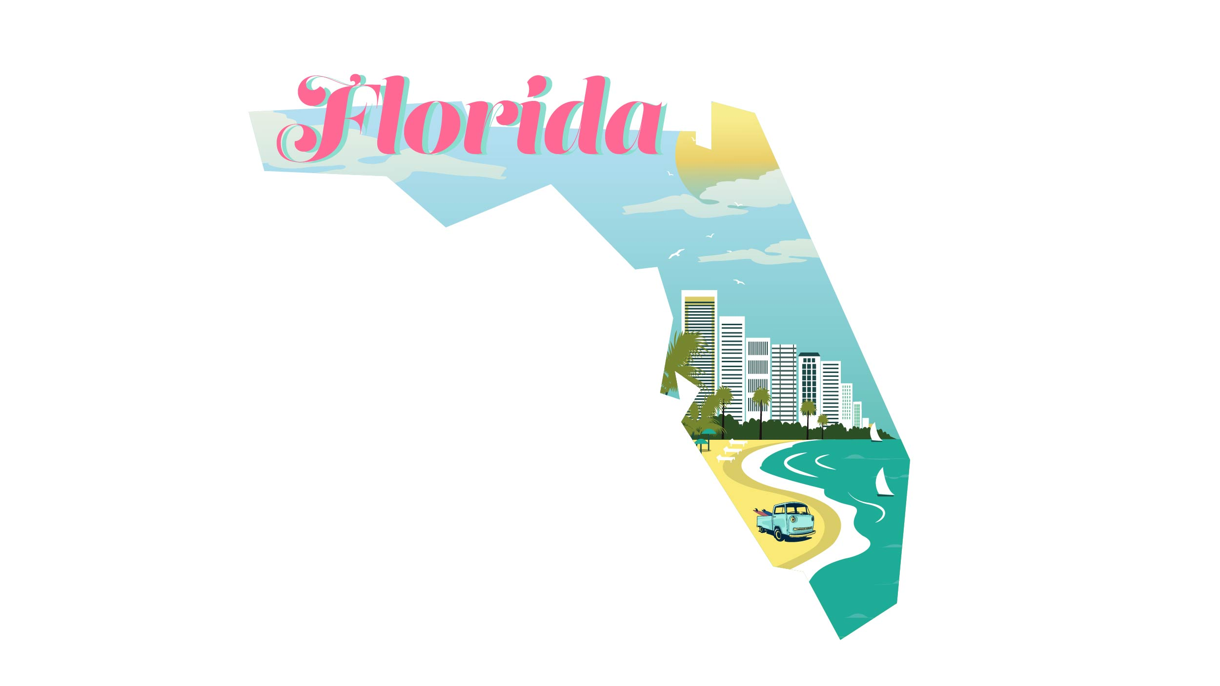 Illustration of Florida state in white background