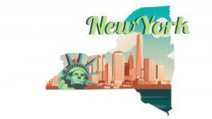 Illustration of New York city and Statue of Liberty in white background