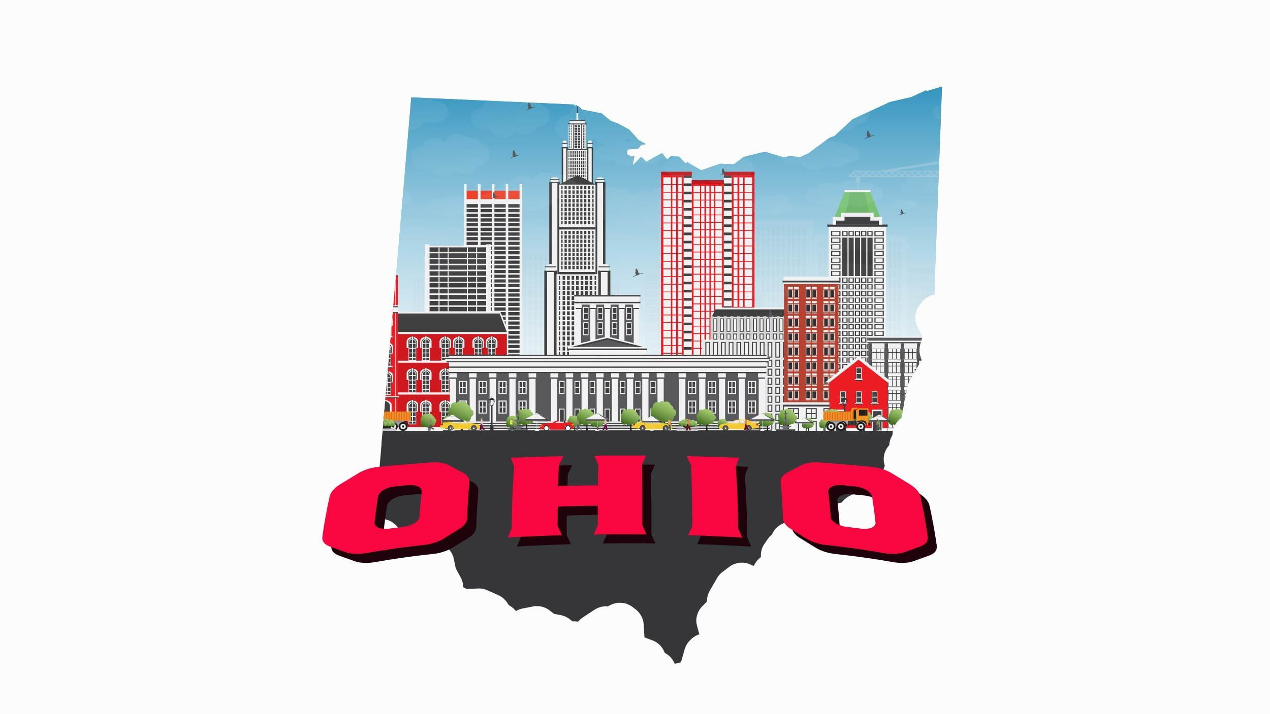 Illustration of Ohio state and Columbus city in white background