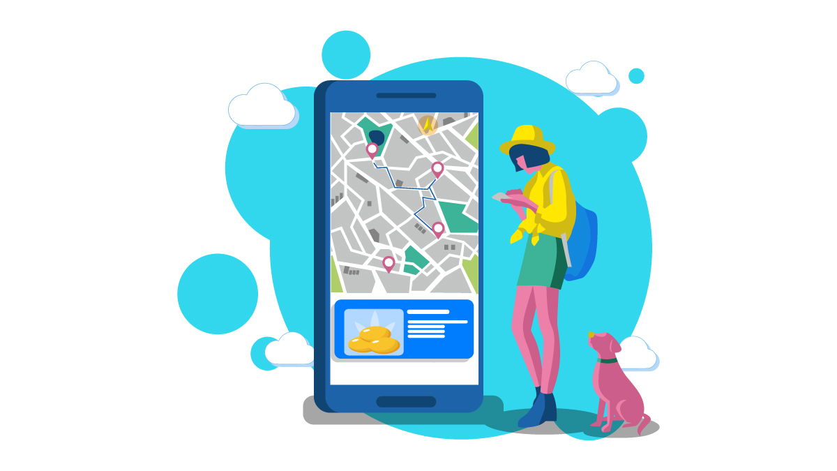 a Girl in Yellow Jacket Searching Her Phone Map for CBD Capsules Stores with Her Dog