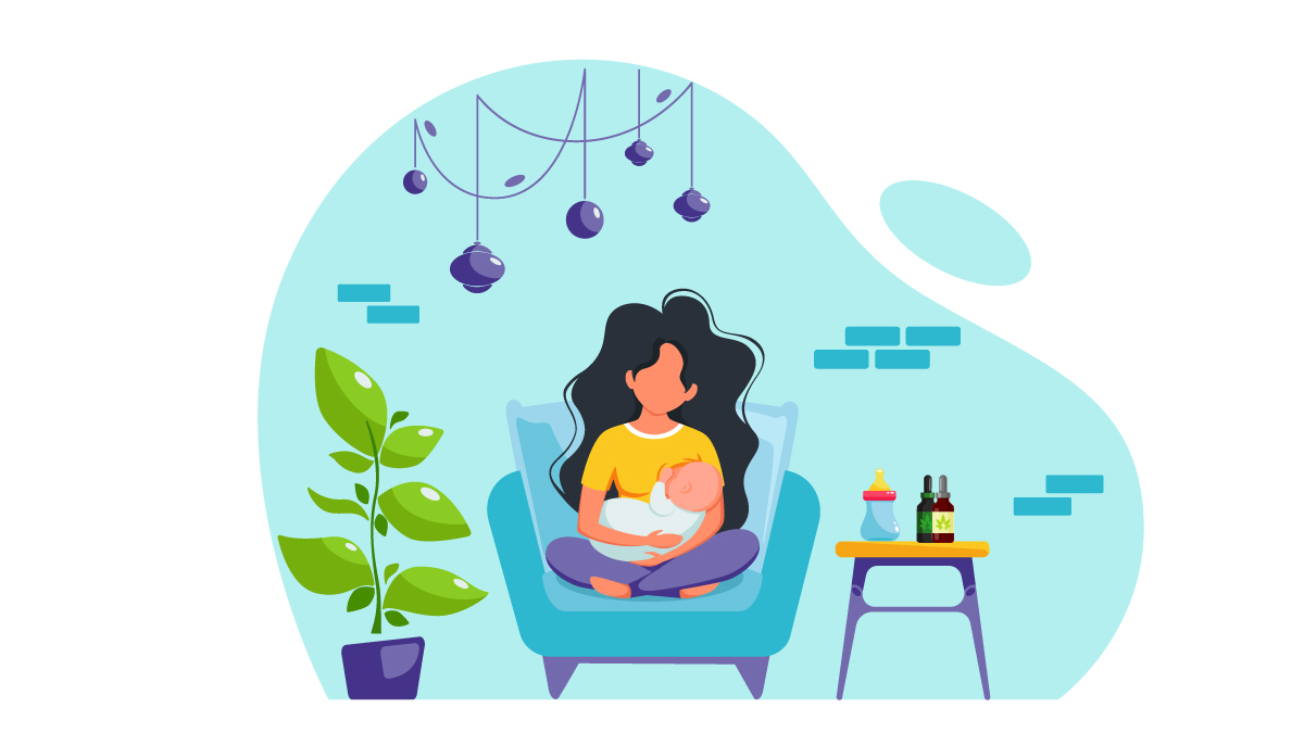 Illustration of a Mother and Baby While Breastfeeding with CBD Oil on the Side Table