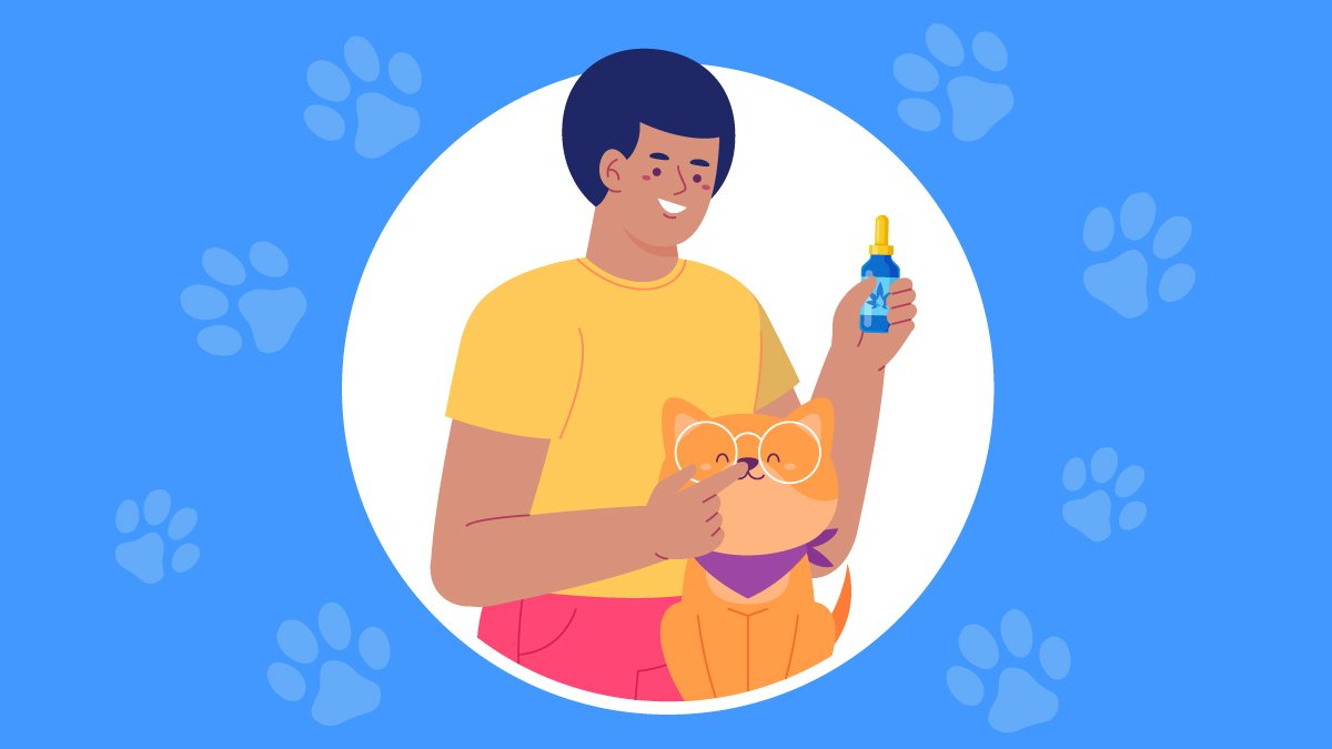 A Dog Owner Holding CBD Oil with His Dog Pet