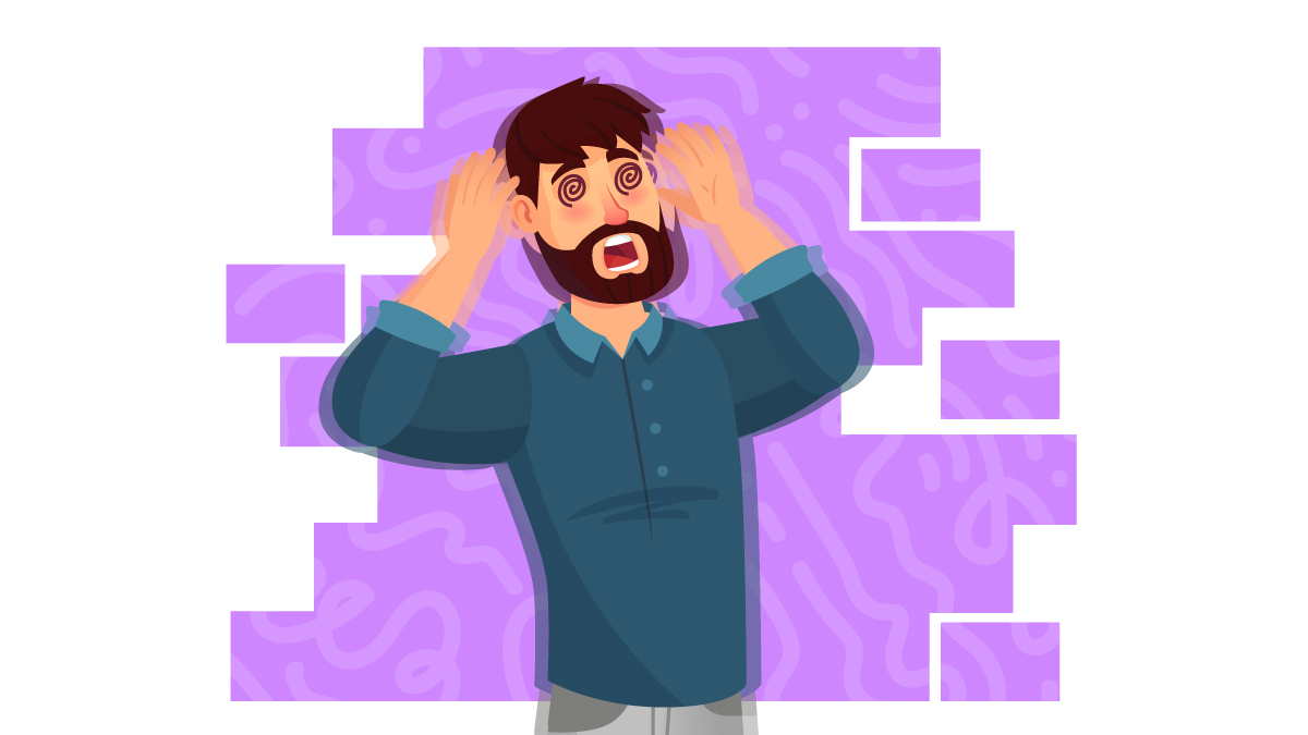 Illustration of a Person with Seizures Attack in Purple Background