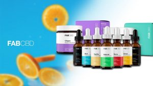 FabCBD products line up with citrus punch background