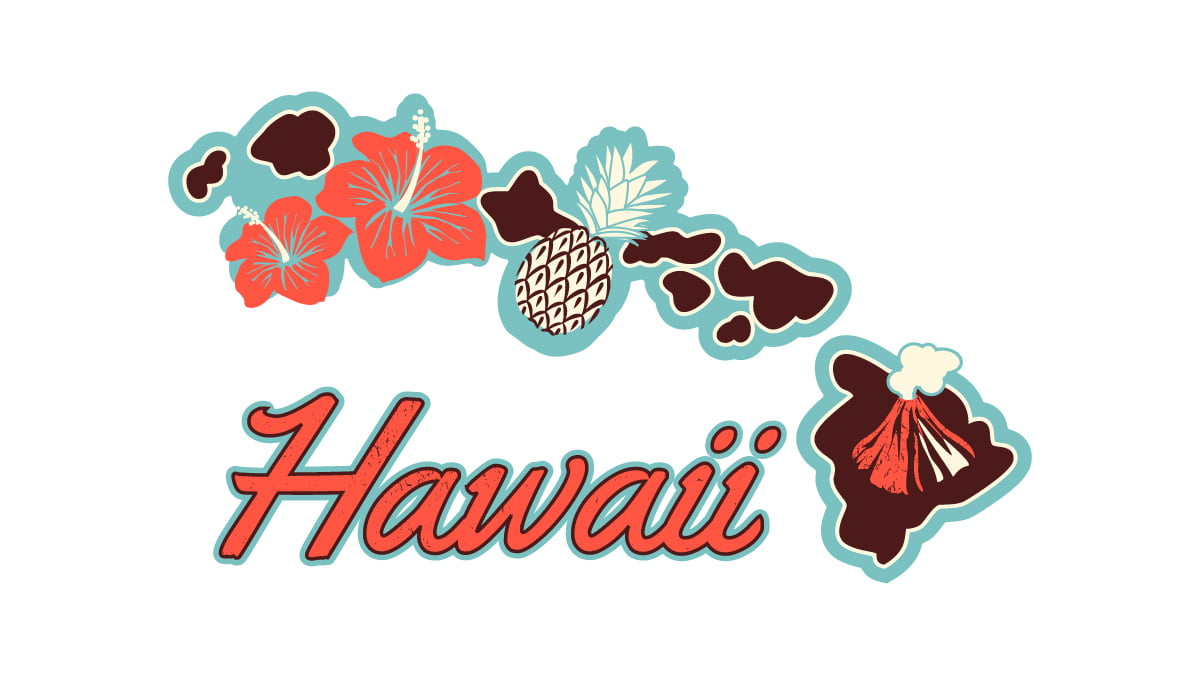 Illustration of Hawaii State Map