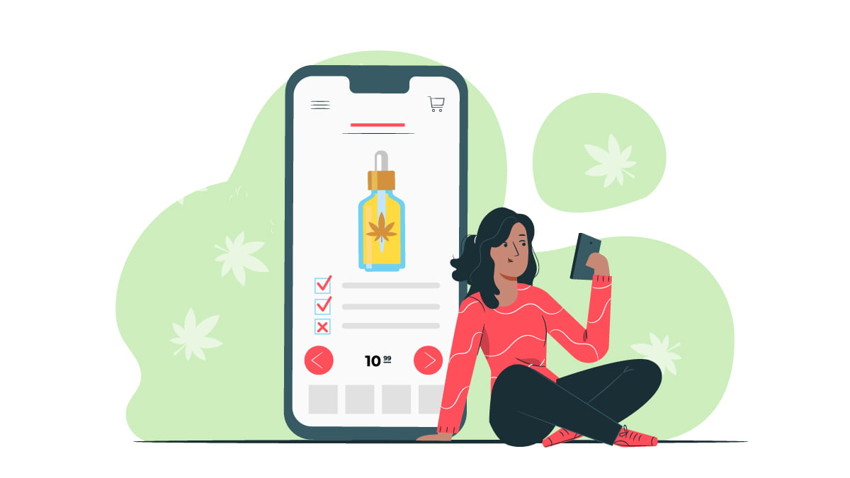 Enlarge Monitor Illustration of Mobile Screen with CBD Oil Must Be in Buying