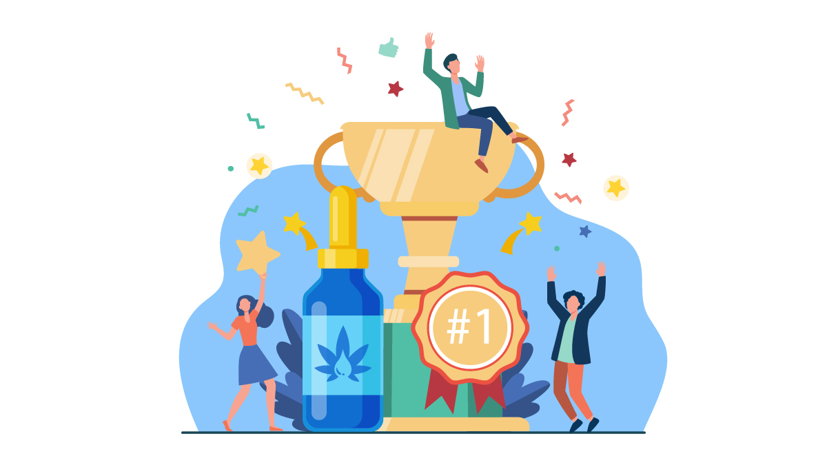 Illustration of Strongest CBD Oil with Trophy and Label #1 With Three Happy People