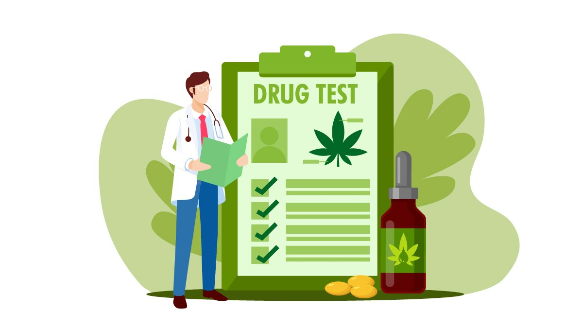 Illustration of a Doctor Standing Holding a Drug Test Record with CBD Oil Bottle Beside It