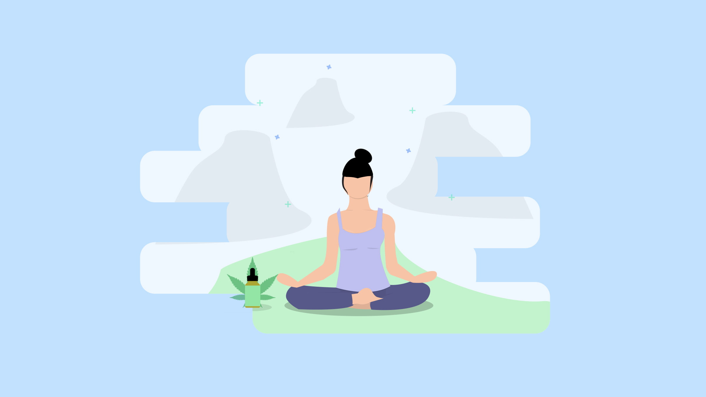 Illustration of a woman with ADHD sitting on a green yoga mat