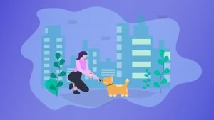 Illustration of a woman giving her dog CBD oil in urban city background