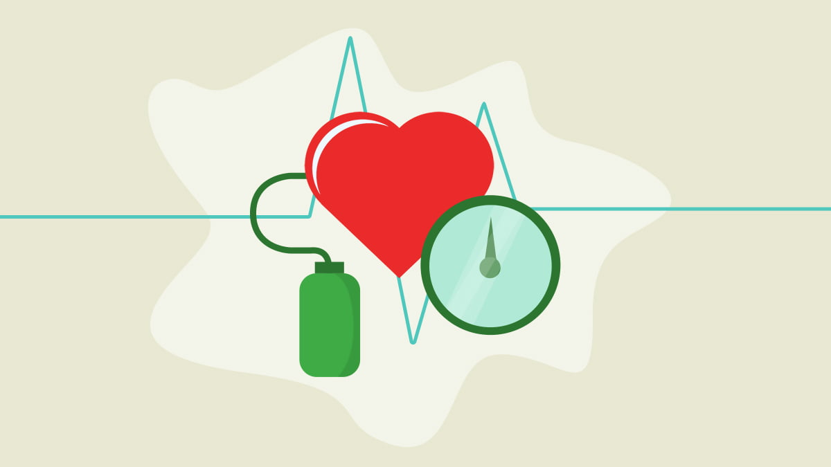 Illustration of a heart and blood pressure measurement medical devices