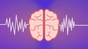 Illustration of a human brain in the middle of brain waves