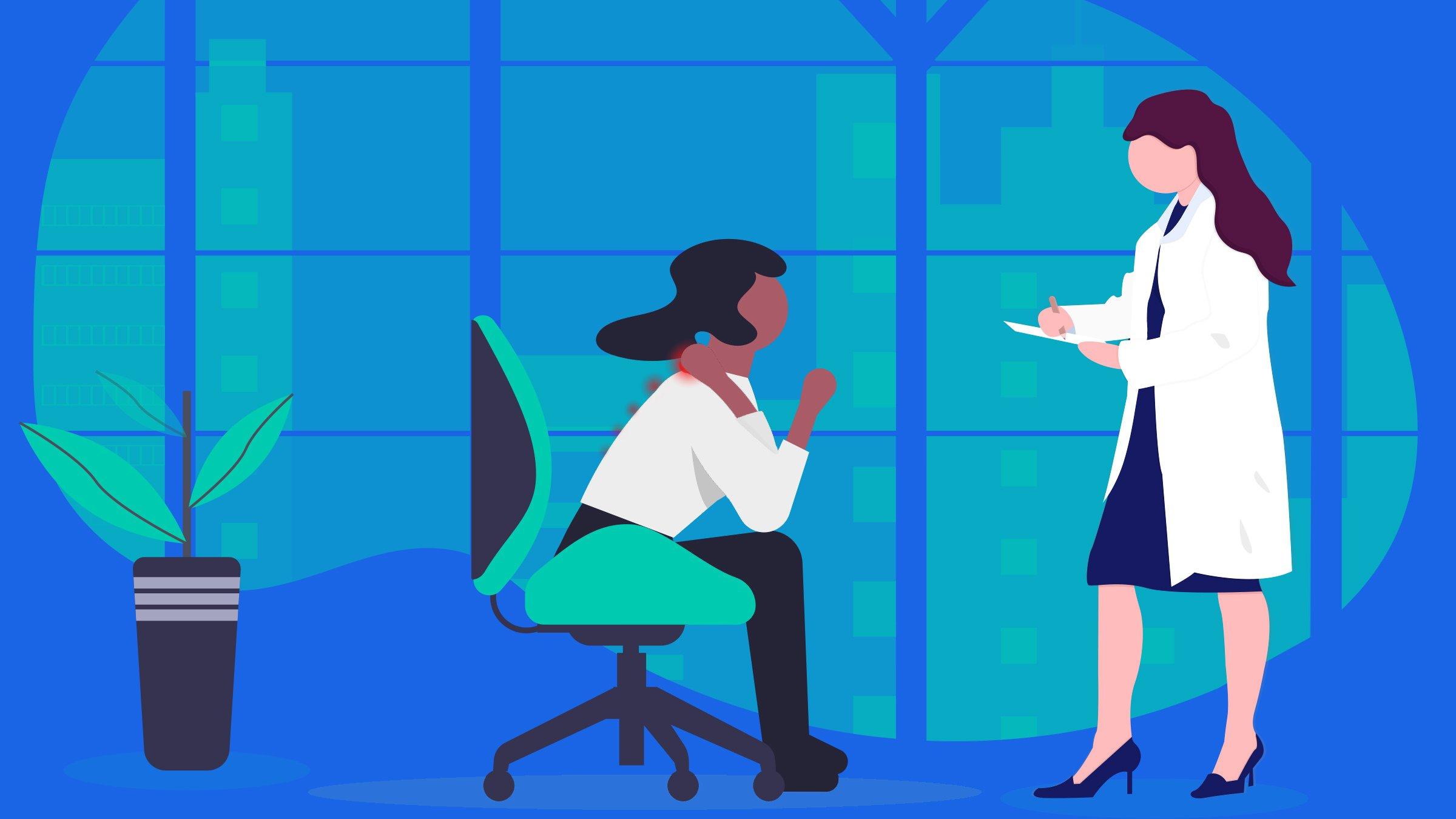 Illustration female doctor diagnosing a Fibromyalgia patient