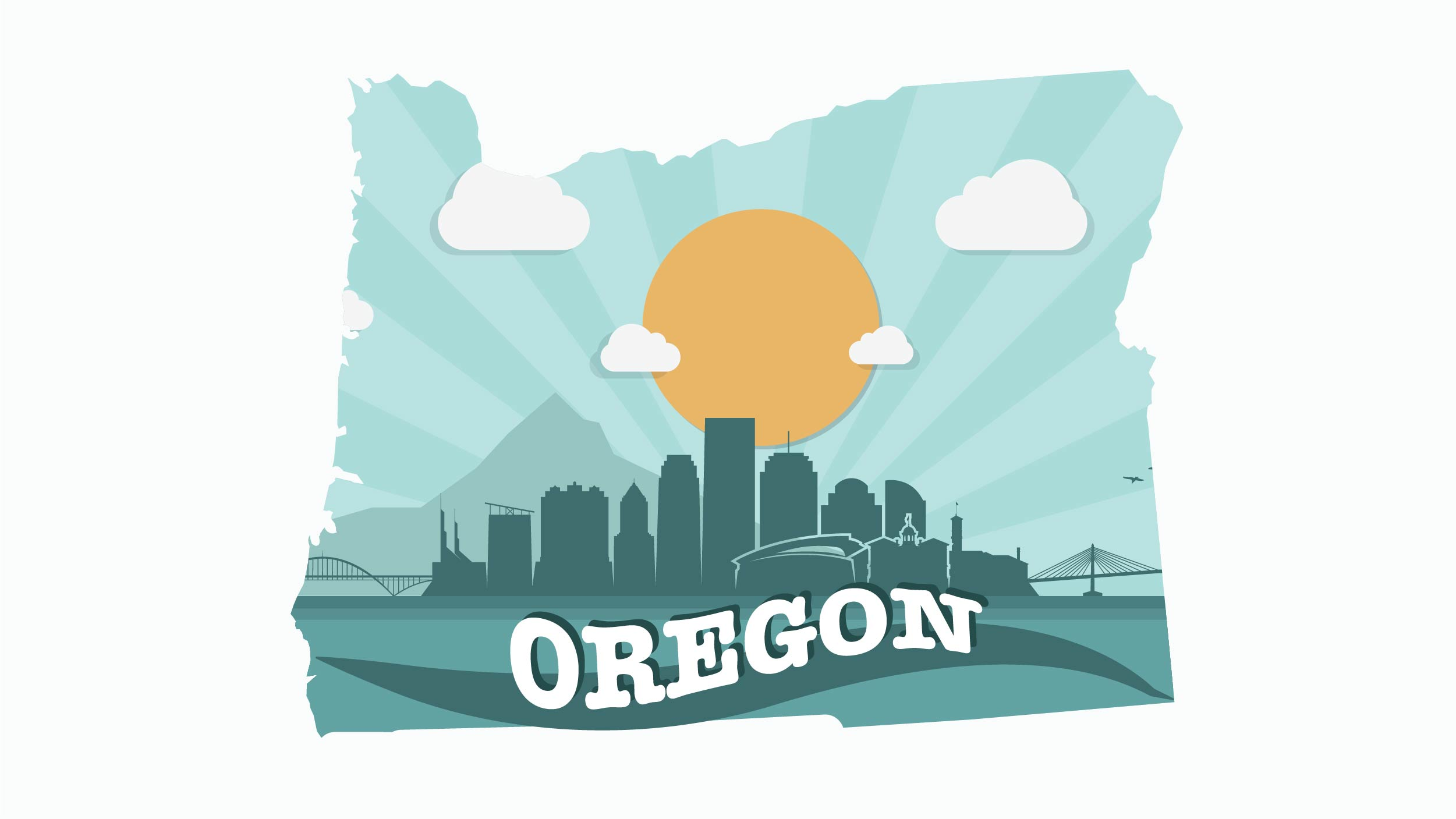 Illustration of Oregon state in the sun shine