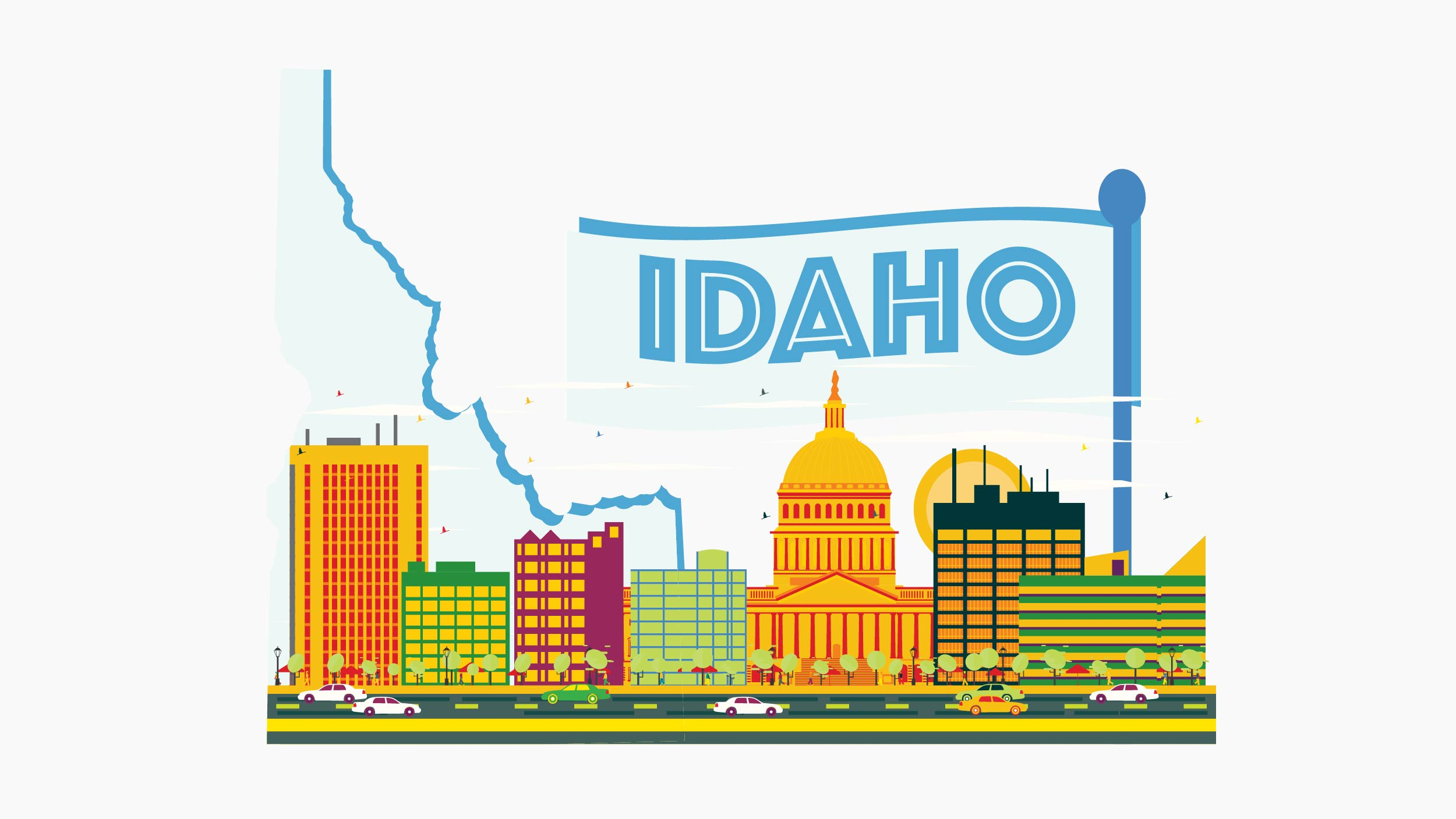 Illustration of Idaho state and city in white background