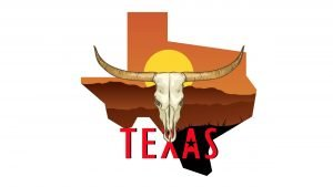 Illustration of a buffalo and Texas state in text