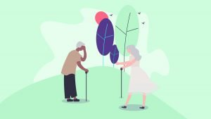 Illustration of an elderly couple with Alzheimer's
