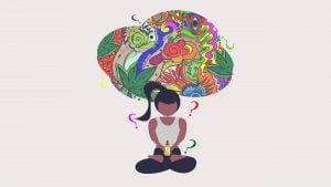 Illustration of a woman sitting under brain icon with multiple question marks