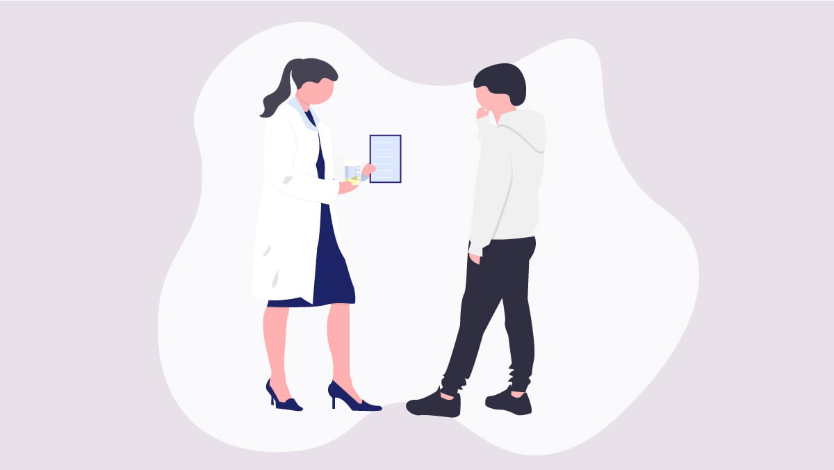 Illustration of a doctor speaking to her patient about CBD oil in urine
