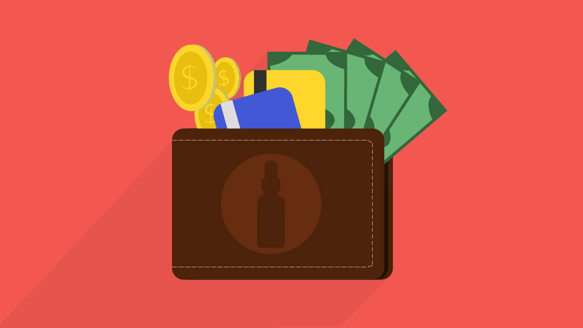 Illustration of a wallet with CBD oil icon on top and currencies inside