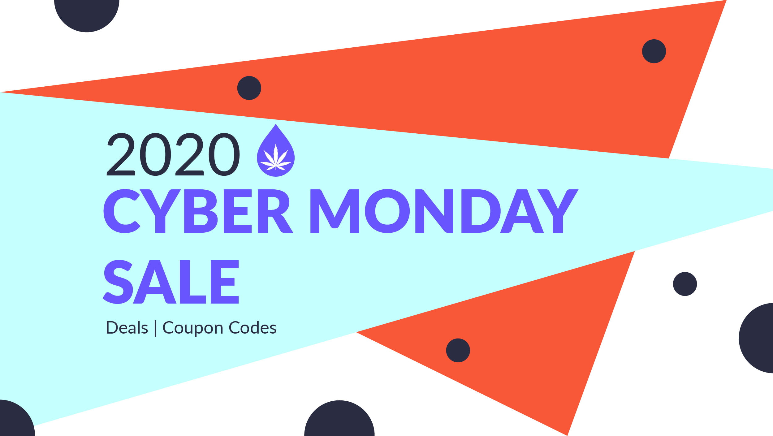 2020 cyber monday banner decorated with multicolor triangle shapes
