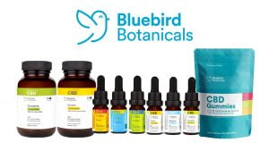 BlueBird Bontanicals CBD Products on white background