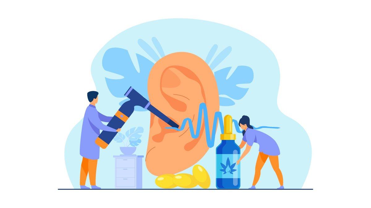 Illustration of CBD Oil Used for Tinnitus Treatment