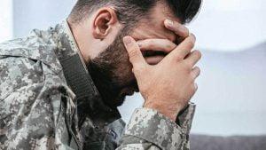 soldier having a PTSD flash back