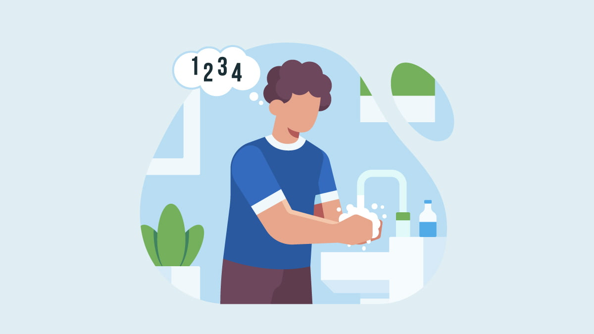 Man with OCD Washing His Hands Thoroughly