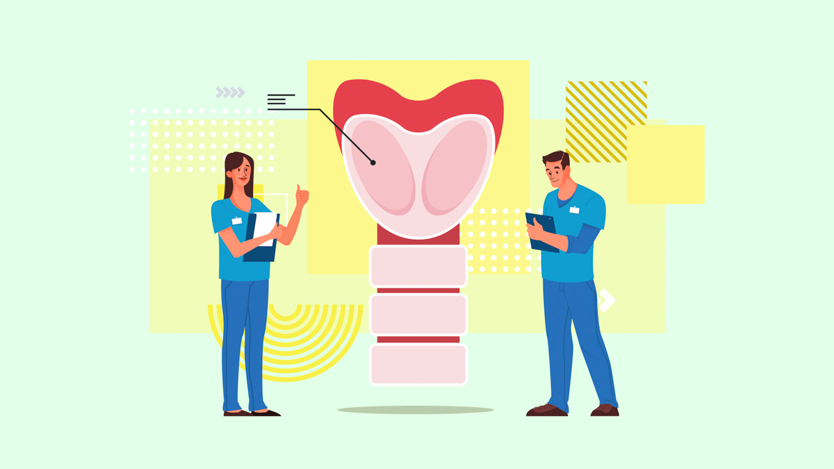 Illustration of Doctors Holding Record Sheet Discussing About Thyroid