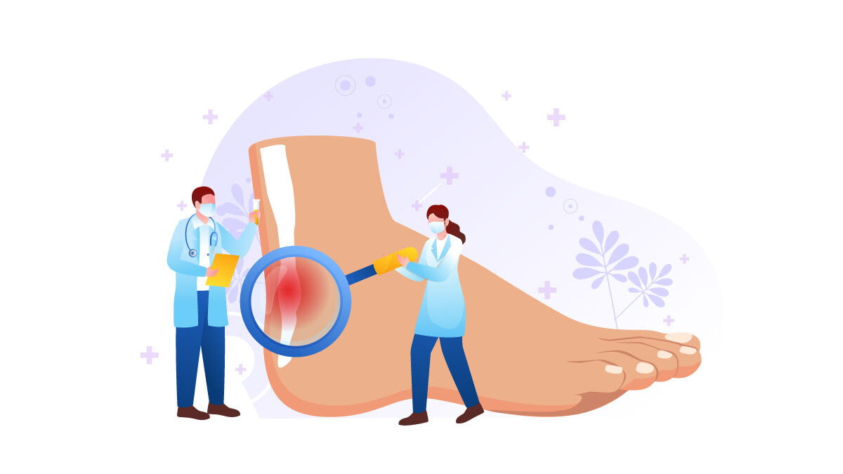 Illustration of Two Doctors Checking Tendonitis on the Patient's Foot