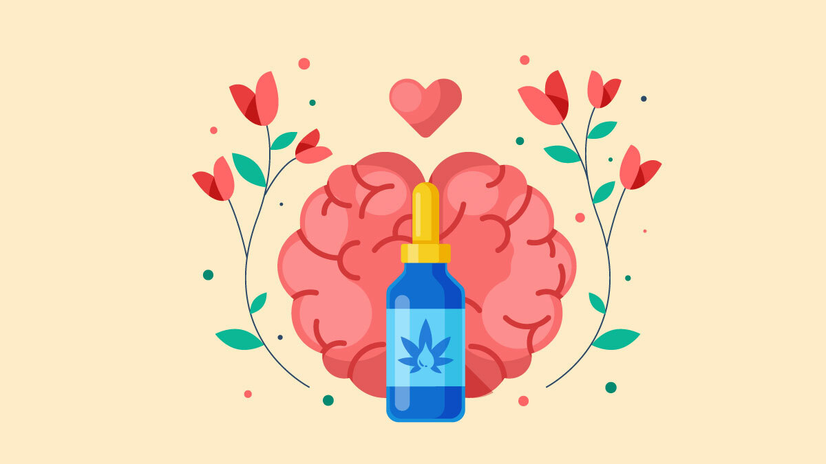 Illustration of CBD Oil with Brain Image and Heart Flowers On the Side