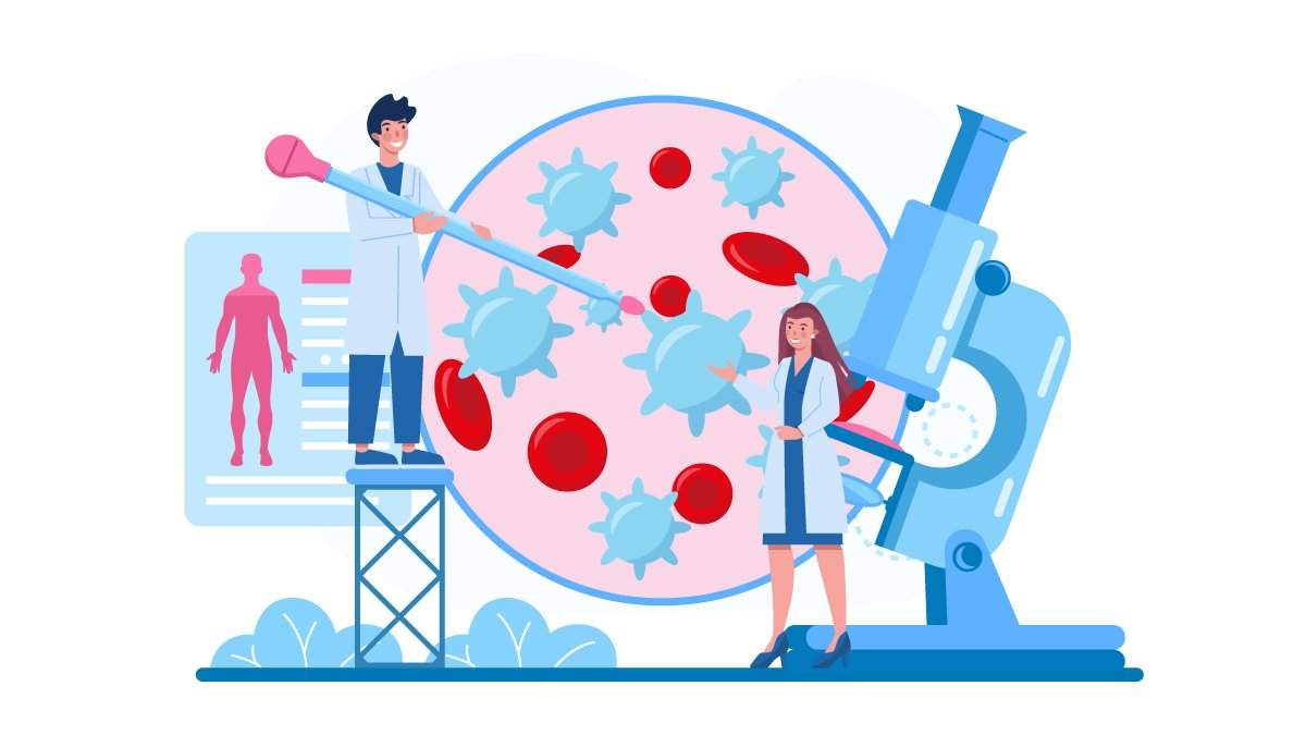 Illustration of Blood Stream with Leukemia Checked by Two Doctors