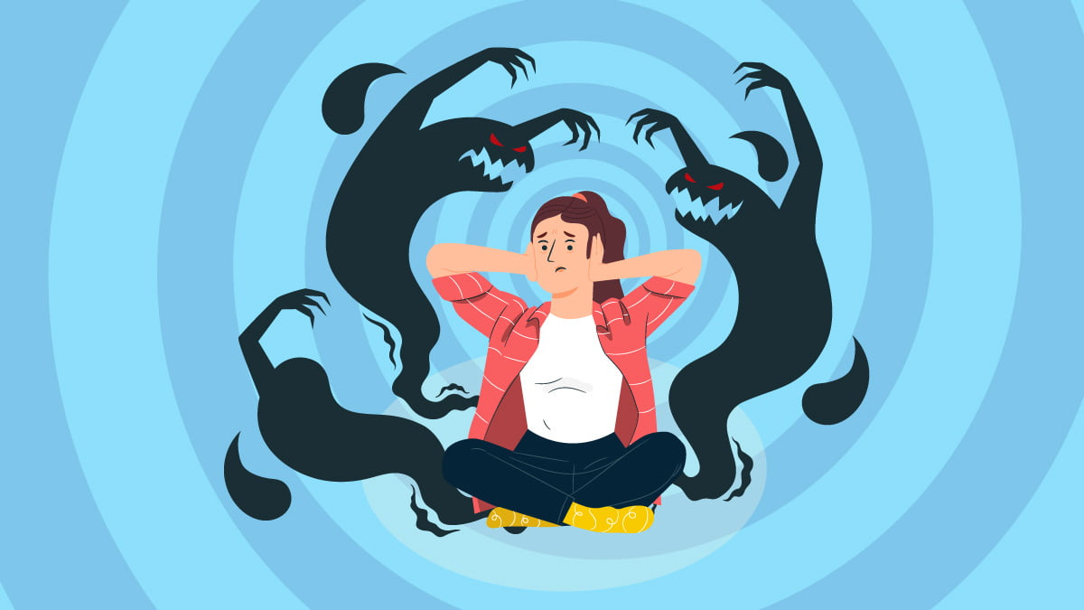 Illustration of a Woman with Schizophrenia