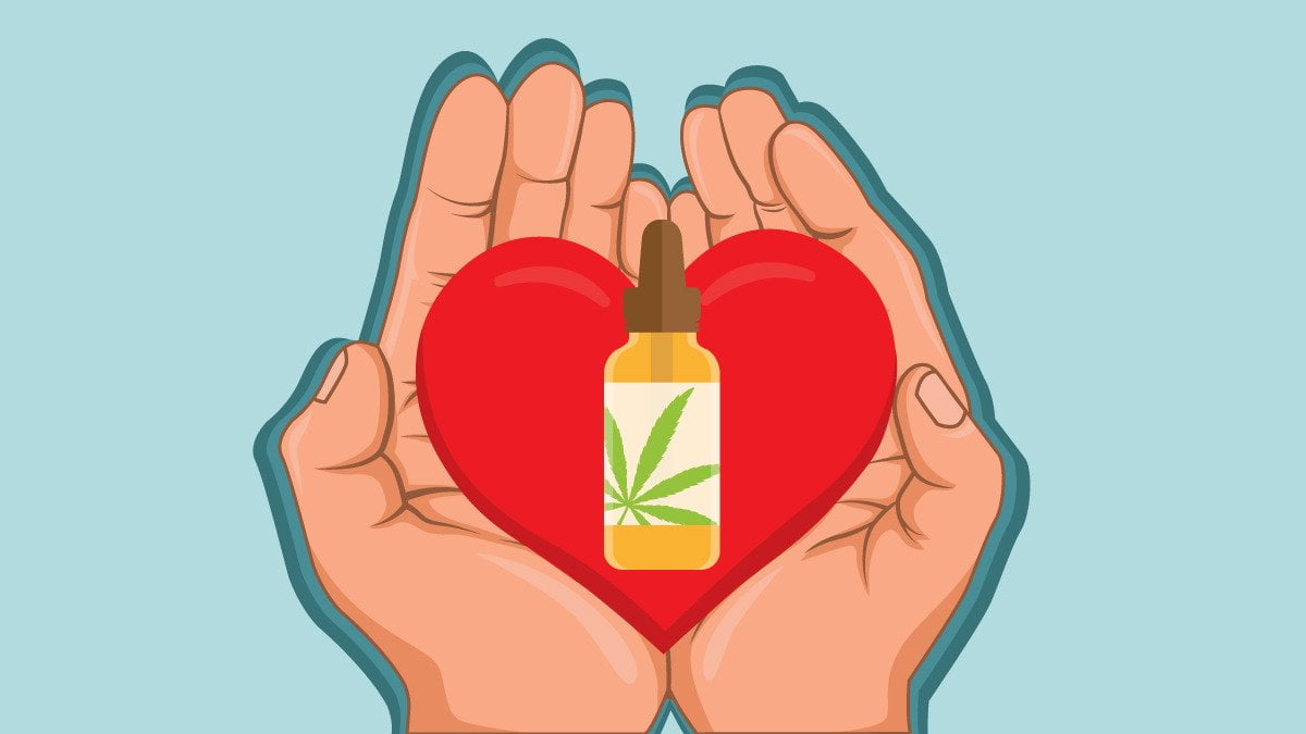 Illustration of Hands Holding Heart with CBD Oil in the Center