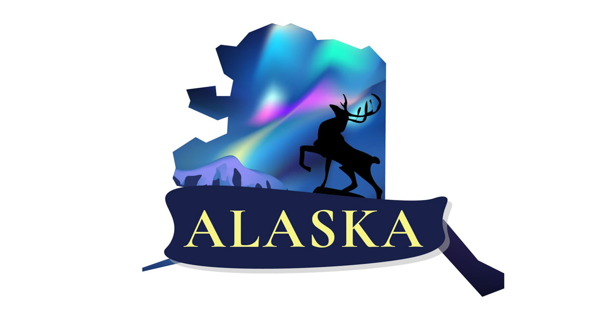 Illustration of Alaska State Map