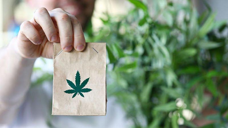 man holding a paper bag with hemp leaf logo