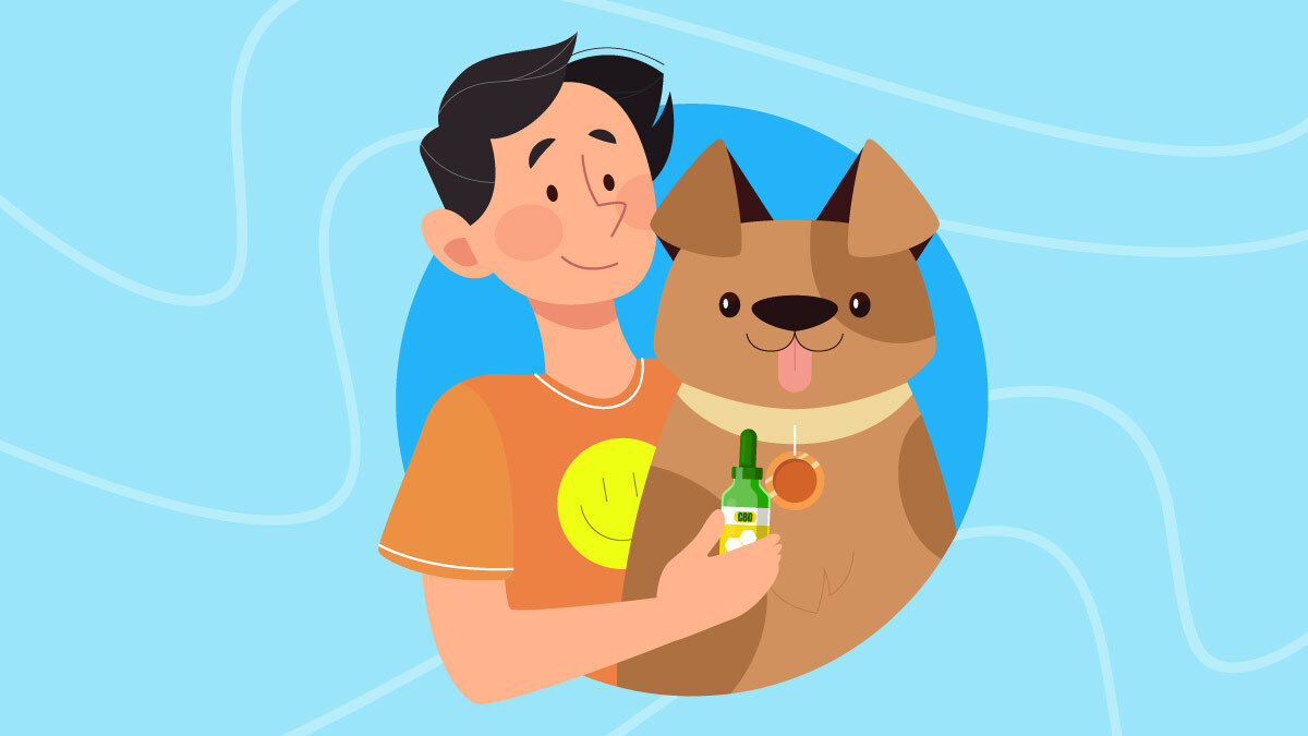 Illustration of a guy and his dog with CBD Oil bottle